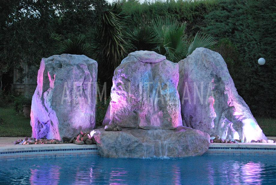 cascata per piscina in roccia artificiale - Artman Italiana